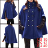 Lady Embossed Double Breasted Poncho Coat Blue M