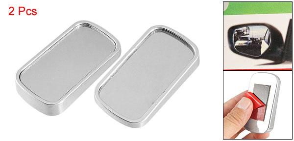 2pcs Silver Tone Car Rectangle Aluminum Alloy Rearview Blind Spot Convex Mirror