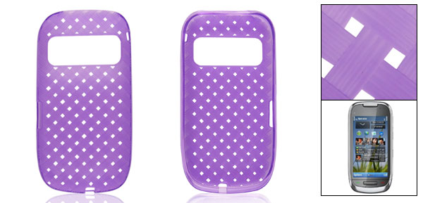 Perforated Solf Plastic Woven Pattern Case Shell Guard for Nokia C7