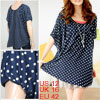 Dot Printed Round Neck Loose Blouse Top for Lady