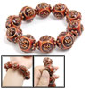 Lady Man Brown Keep Lucky Words Wooden Beads Elastic Bracelet