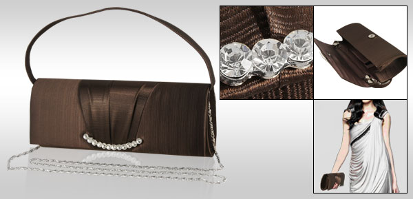 Crystal Detailing Coffee Color Evening Bag for Ladies w Strap