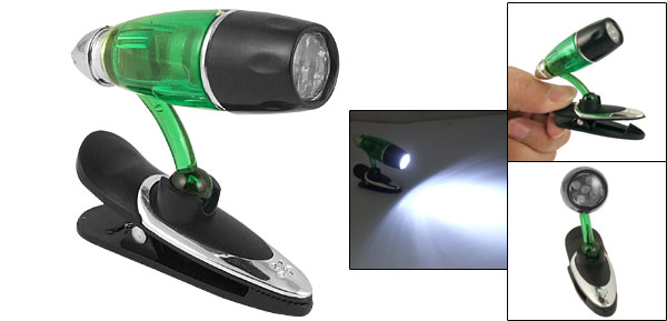 Angle Adjustable Neck 5 LEDs White Light Mini Clip Lamp Green Black