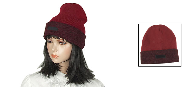 Skiing Fold Over Cuff Ribbed Burgundy Hand Knit Beanie Cap for Lady