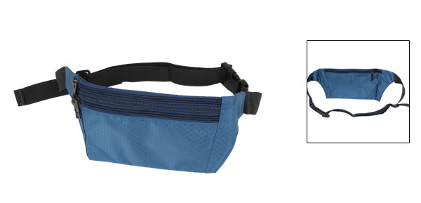 Man Argyle Print 3 Zipper Pockets Waist Pouch Steel Blue