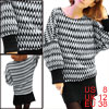 Black White Knitting Design Bat Sleeve Sweater for Woman M
