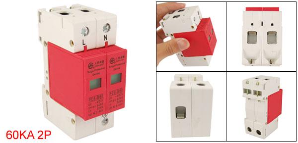 60KA 420VAC 2 Pole Power Security Surge Arrester Device