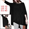 Allegra K Woman Long Dolman Sleeve Round Neck Loose Shirt Black M