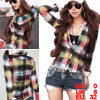 Woman Colors Plaid Long Sleeve Point Collar Buttoned Shirt XS