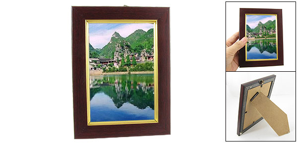 Office Wall Hanging Maroon Wooden Rectangular Photo Frame w Triangle Hook