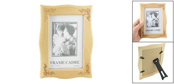 Wooden Vertical Desktop Photo Frame Beige for 12.7 x 8.8cm Picture
