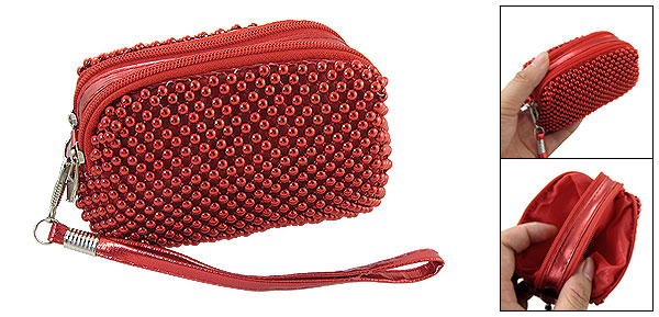 Zipper Closure Red Mini Beaded Purse Bag for Lady