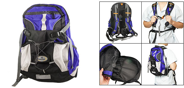 Bike Trip Back Metal Frame Zip Up Fabric Backpack Black Blue