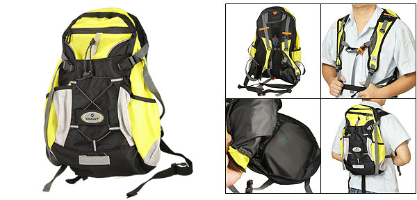 Hikers Black Yellow Meshy Fabric Zip Up Daypack Backpack