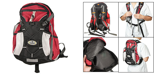 Men Bicycle Black Red Multi-pocket Zipper Daypack Backpack