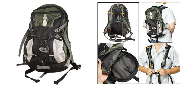 Men Cycling Green Black Fabric Multi-pocket Pack Backpack