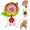 Desk Red Yellow Apple Shape Clock w Dangling Pendant
