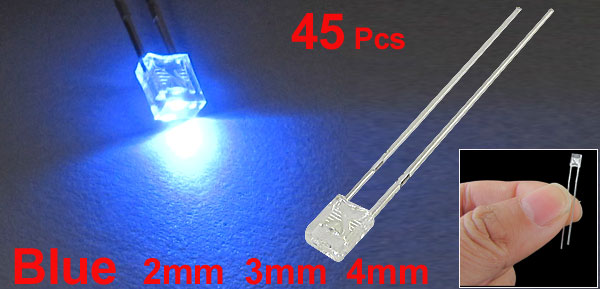 45 Pcs 2mm x 3mm x 4mm Blue LED Light Emitting Diodes