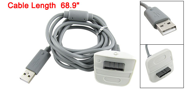 Gray USB to Female Charger Adapter Cable for XBOX360