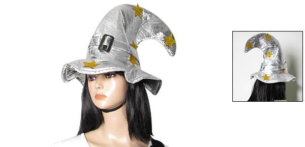 Powder Star Detailing Silver Tone Halloween Witch Hat