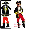 Red Black Open Front Long Sleeve Pirate Halloween Costume US M fo...