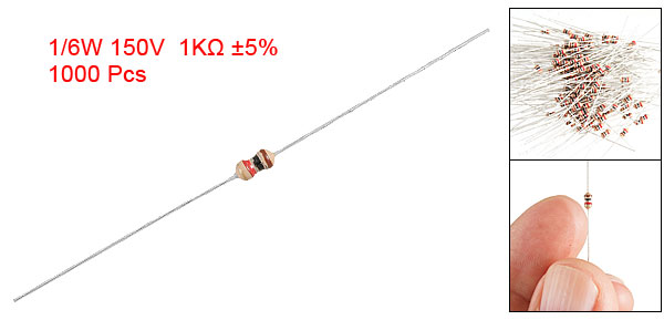 1K Ohm 1/6W 5% Through Hole Carbon Film Resistor 1000 Pcs
