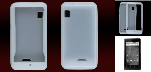 White Silicone Skin Case Protector for Motorola A855