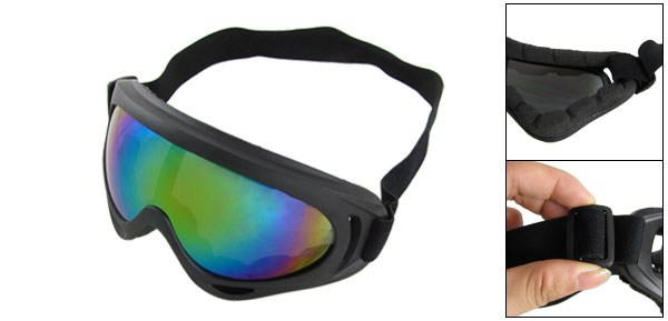 Adjustable Head Band Black Plastic Frame Colored Lens Ski Goggles