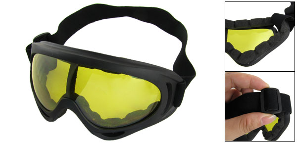 Adjustable Band Black Plastic Frame Clear Yellow Lens Snow Goggles