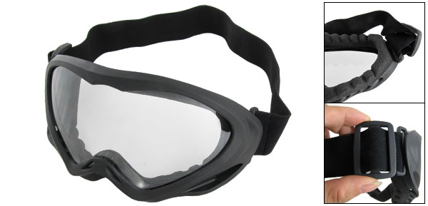 Black Adjustable Band Plastic Frame Clear Lens Ski Goggles