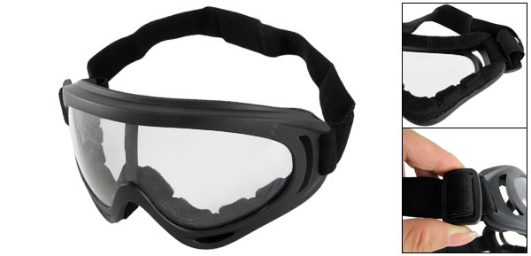 Elastic Head Band Black Plastic Frame Clear Lens Snow Goggles