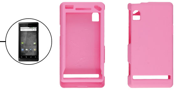 Rubber Coated Plastic Pink Hard Case Guard for Motorola Droid A855