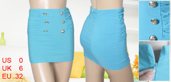 Woman Cyan Blue Embossed Button Accent Straight Mini Skirt XS