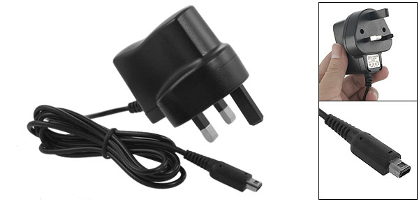 AC 100-240V Black UK Plug Adapter Power Charger for Nintendo DS Lite