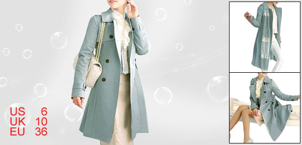 Woman Lapel Collar Long Sleeve Double Breasted Trench Coat Baby Blue S