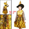 Girls Halloween Yellow Black Cobweb Overlay Witch Costume Dress U...