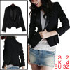 Women Black Long Sleeves Single Button Closure Blazer XS