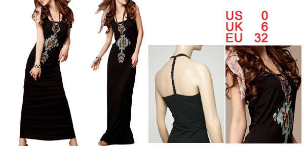 Lady Scoop Neck Totem Pattern Racer Back Maxi Dress Black XS