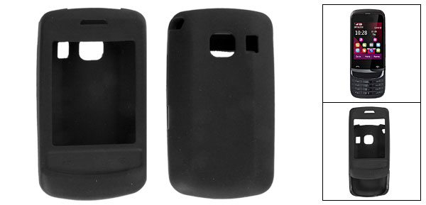 Protective Soft Silicone Skin Black Cover Case for Nokia C2-02