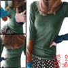 Allegra K Lady Thumb Hole Sleeve Scoop Neck T-Shirt Dark Green XS