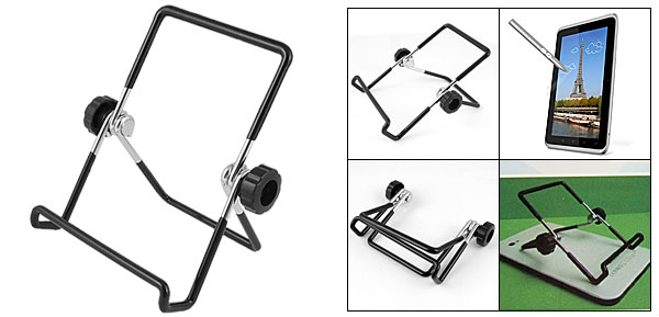 Foldable Black Plastic Coated Metal Holder Stand for HTC Flyer