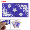 Mobile Phone Adhesive Blue Base Silver Tone Flower Stickers 5 Pcs
