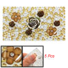 Brown Flower Decor DIY Plastic Crystal Decals 5 Pcs for Phone
