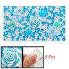 Blue Flowers Decor DIY Phone Plastic Crystal Decals 5 Pcs