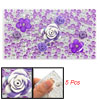 Phone Decor Purple Flowers DIY Plastic Crystal Sticker 5 Pcs