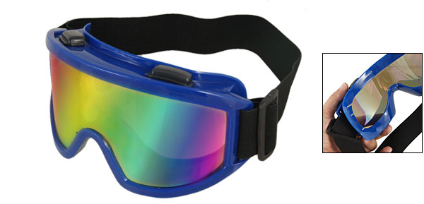 Men Women Blue Full Frame Uni Lens Plastic Camping Goggles Glasses