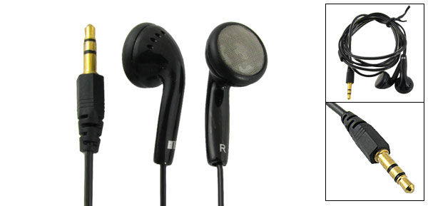 Cell Mobile Phone Black 3.5mm Plug Y Cord Earphone Earbud