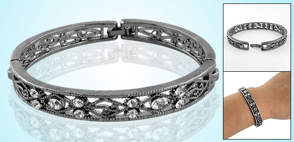 Women Pewter Color Hollow Out Rhinestone Bangle Tibetan Bracelet