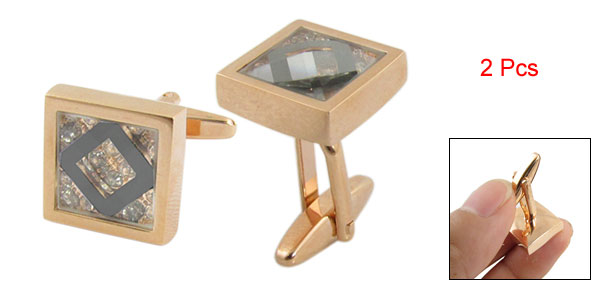 2 Pcs Square Shape Rhinestone Inlaid Gold Tone Cuff Button Cufflinks