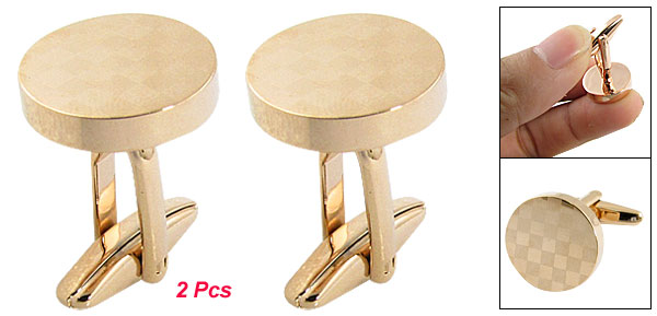 Checked Pattern Gold Tone Round Shape Metal Cufflinks 2 Pcs